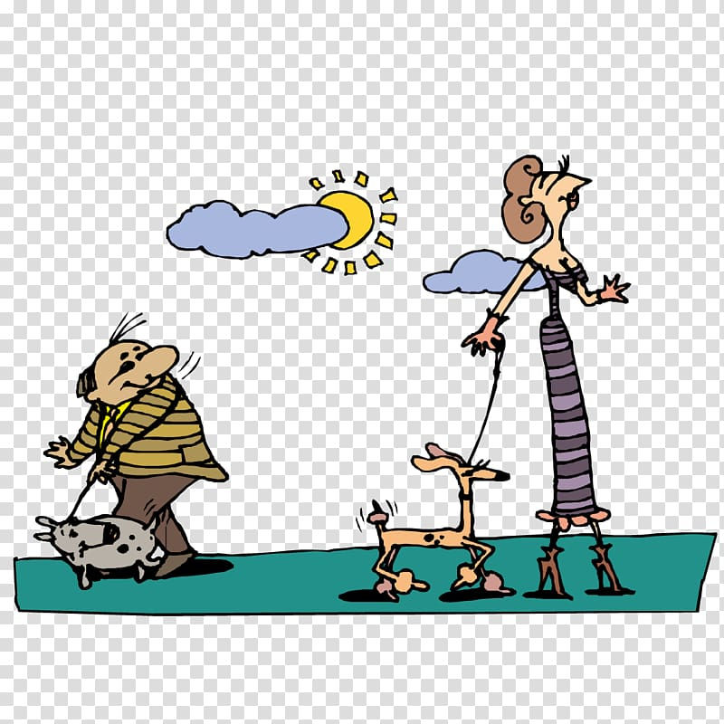 Walking abc clipart picture royalty free library Dog Cartoon , Men and women walking the dog transparent ... picture royalty free library