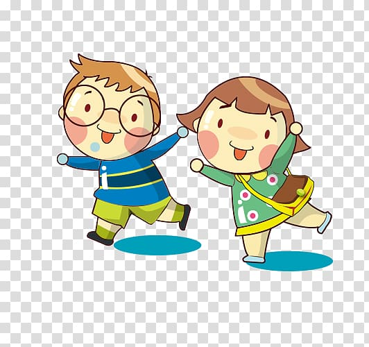 Walking abc clipart clip black and white Cartoon , child, illustration of boy and girl walking ... clip black and white