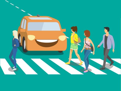 Walking and driving car clipart vector free Helping autonomous vehicles and humans share the road vector free