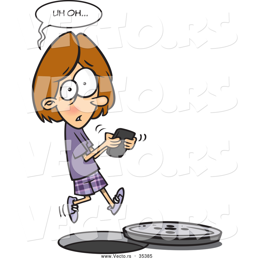 Walking and texting accidents clipart image freeuse Vector of a Distracted Cartoon Girl Texting While Falling ... image freeuse