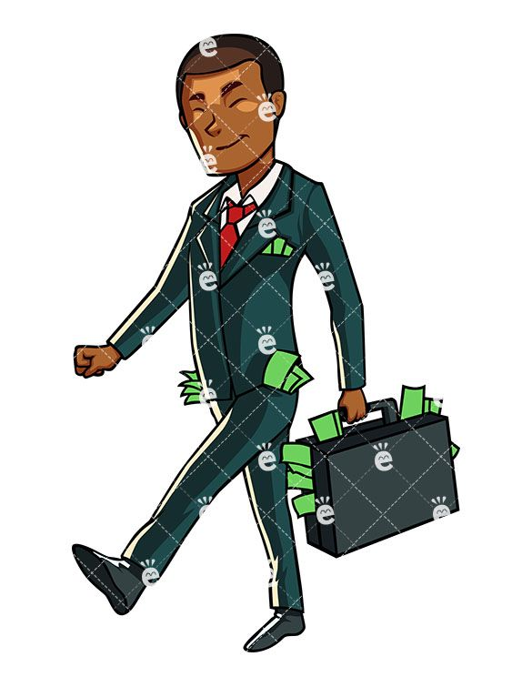 Walking businessman clipart clip art royalty free A Successful Black Businessman Walking With Lots Of Cash ... clip art royalty free