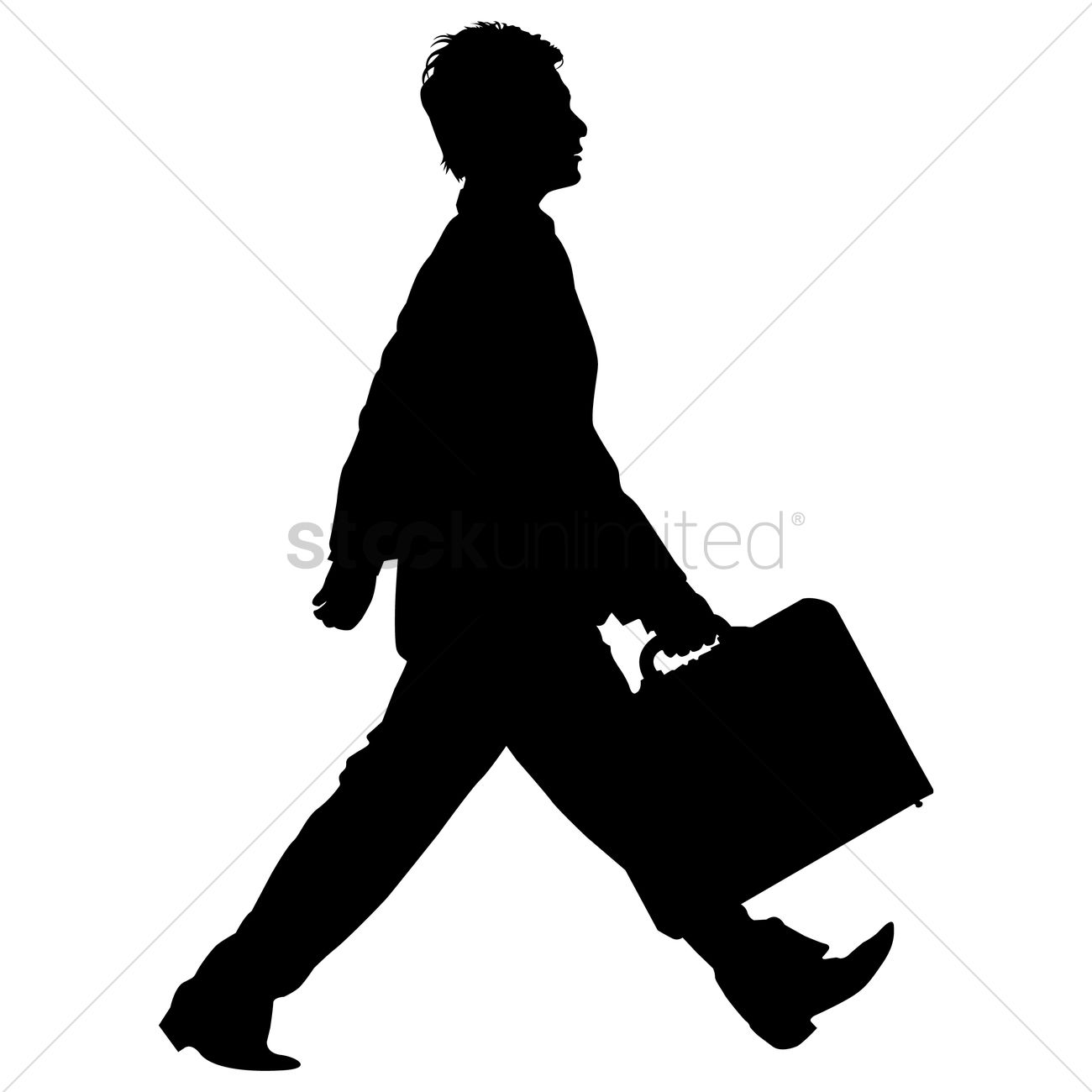 Walking businessman clipart vector library stock Businessman walking with briefcase silhouette Vector Image ... vector library stock
