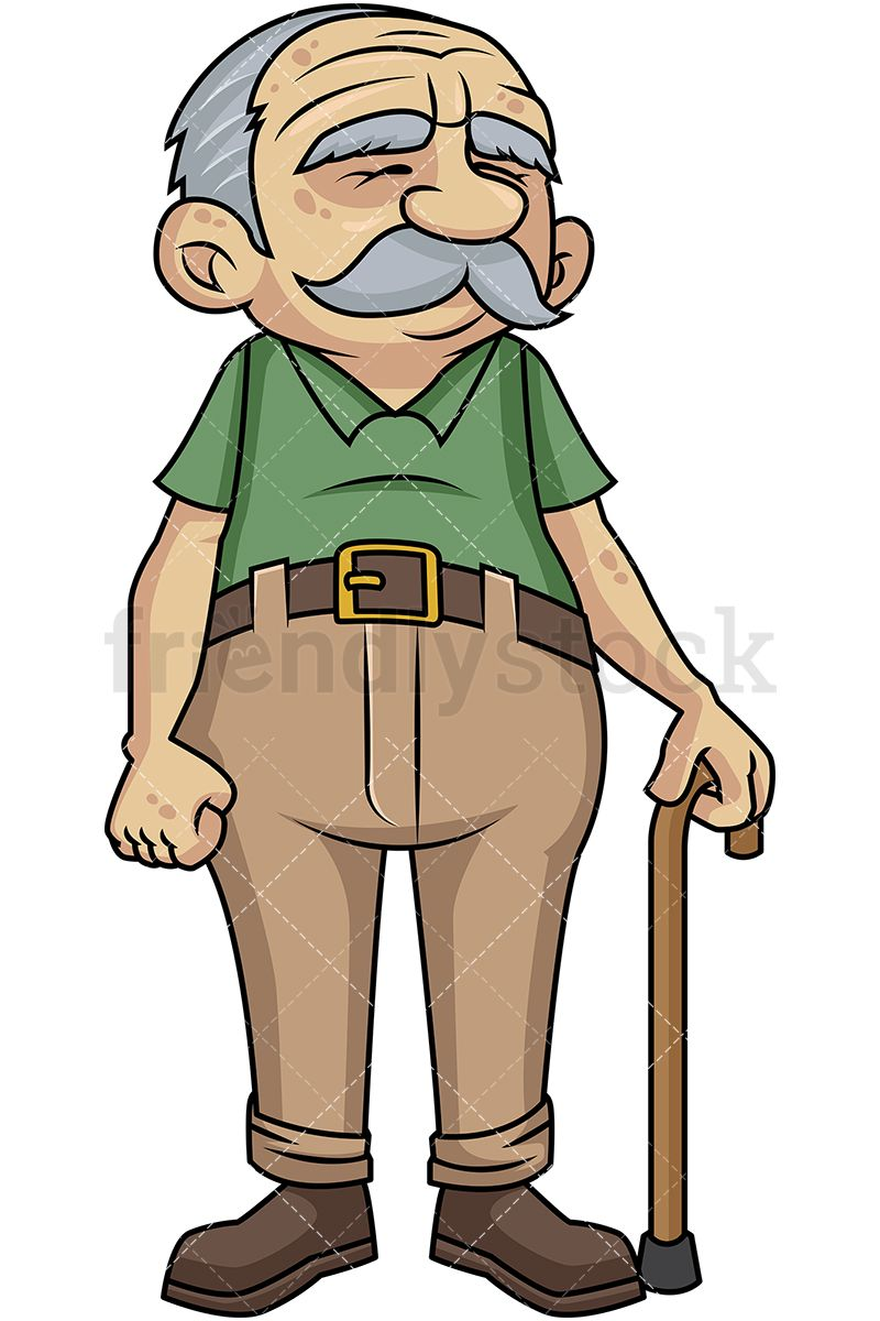 Skeleton holding a cane clipart royalty free stock Loveable Old Man With Walking Stick | Vector Illustrations ... royalty free stock