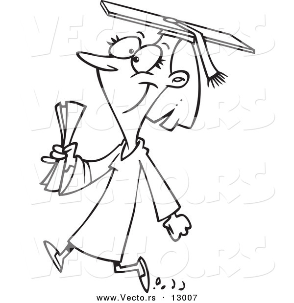 Walking college student clipart png library stock Vector of a Happy Female Cartoon College Graduate Walking ... png library stock
