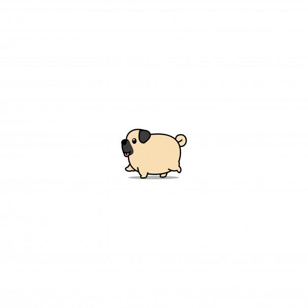 Walking dog clipart icon banner royalty free download Cute fat pug dog walking cartoon icon Vector   Premium Download banner royalty free download