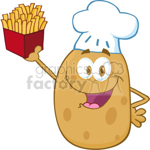 Walking fries clipart jpg library stock 5181-Potato-Chef-Holding-Up-A-French-Fries-Royalty-Free-RF-Clipart-Image  clipart. Royalty-free clipart # 386340 jpg library stock