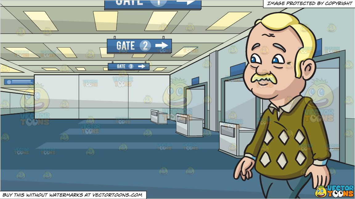 Walking gate clipart jpg royalty free library A Grandpa Walking To His Destination and Airport Departure Gate Background jpg royalty free library