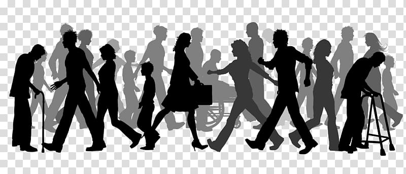Walking group clipart clip transparent Silhouette of walking group of people illustration, Walking ... clip transparent