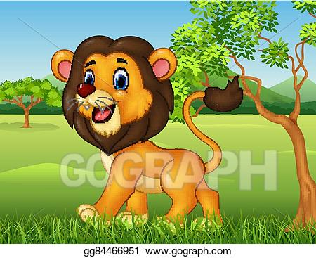 Walking in jungle clipart image library stock Vector Clipart - Cartoon funny lion walking. Vector ... image library stock