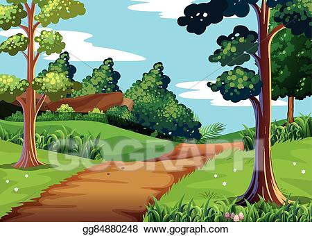 Walking in jungle clipart banner library Vector Clipart - Nature scene with forest and walking trail ... banner library