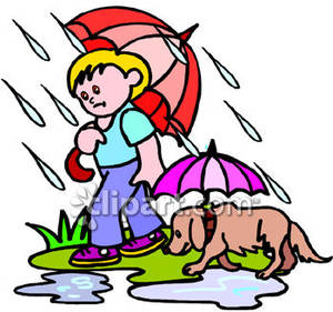 Walking in the rain clipart png freeuse library A Boy Walking His Dog In the Rain with Umbrellas - Royalty ... png freeuse library