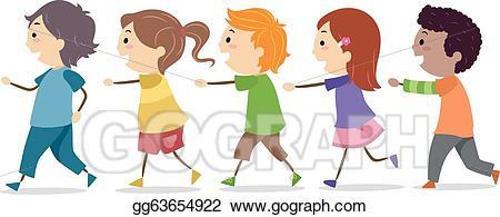 Walking line clipart clip Vector Clipart - Kids walking in one line. Vector ... clip