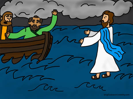 Walking on water clipart free jpg transparent stock Jesus walked on the water bible class - Sing God\'s Word jpg transparent stock