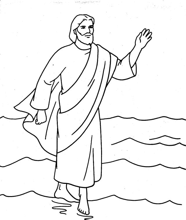 Walking on water clipart free vector free library Free Jesus Walking On Water Coloring Page, Download Free ... vector free library
