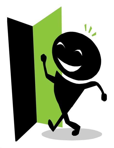 Walking out the door clipart