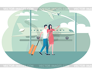 Walking past a window clipart banner free People in Airport Walking along Big Glass Window - vector ... banner free