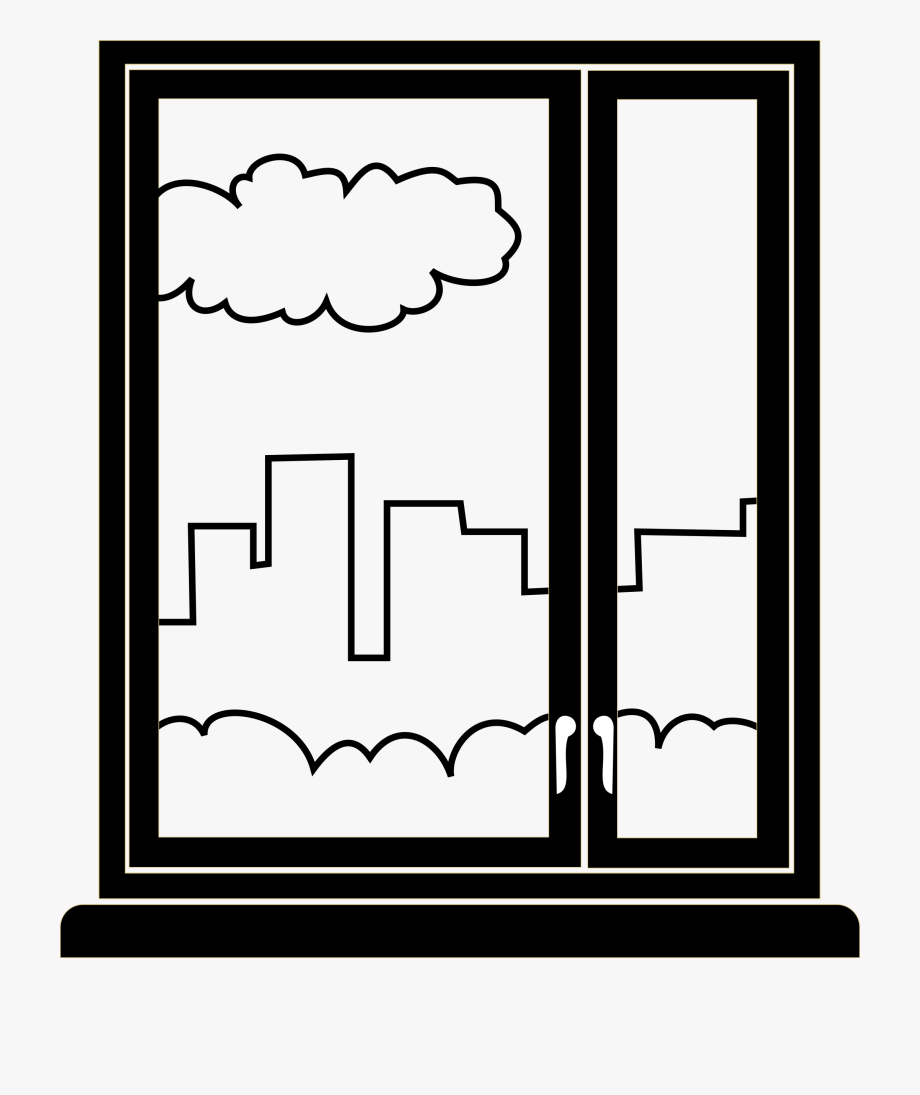 Walking past a window clipart black and white Graphic Library Simple Big Image Png - Simple Window Clipart ... black and white
