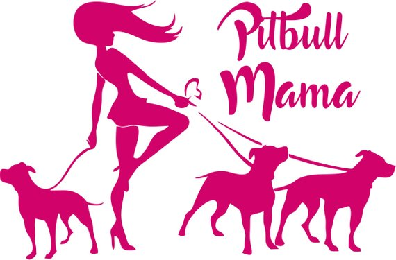 Walking pitbulls clipart picture black and white download On sale Pitbull Mama Decal - Lady Walking 3 Floppy Ear Pit ... picture black and white download