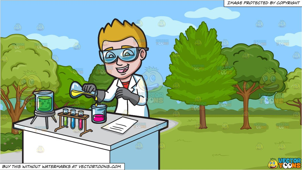 Walking scientist clipart banner transparent stock A Happy Scientist Mixing Chemicals and A Pretty Park With Walking Path  Background banner transparent stock