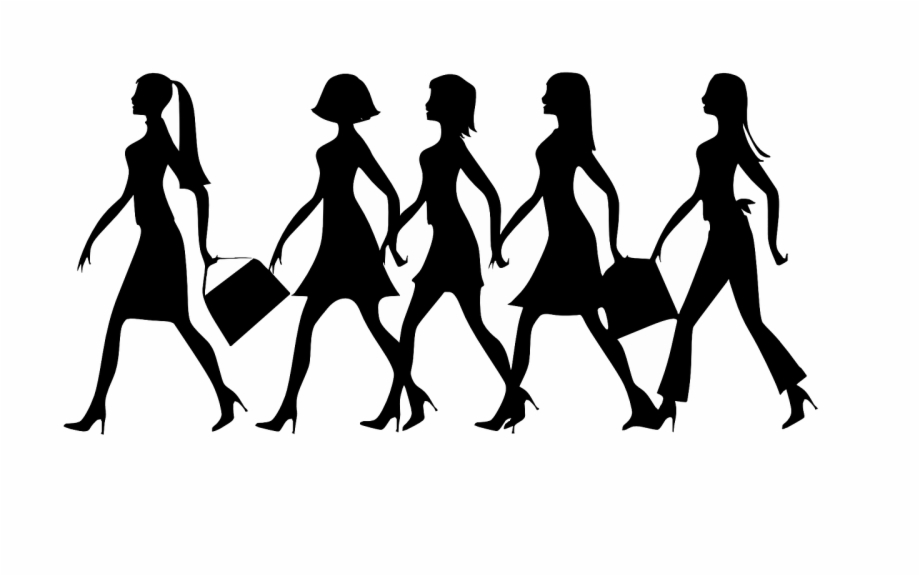 Walking team clipart svg free stock Group Of Girls Walking Clipart Free PNG Images & Clipart ... svg free stock