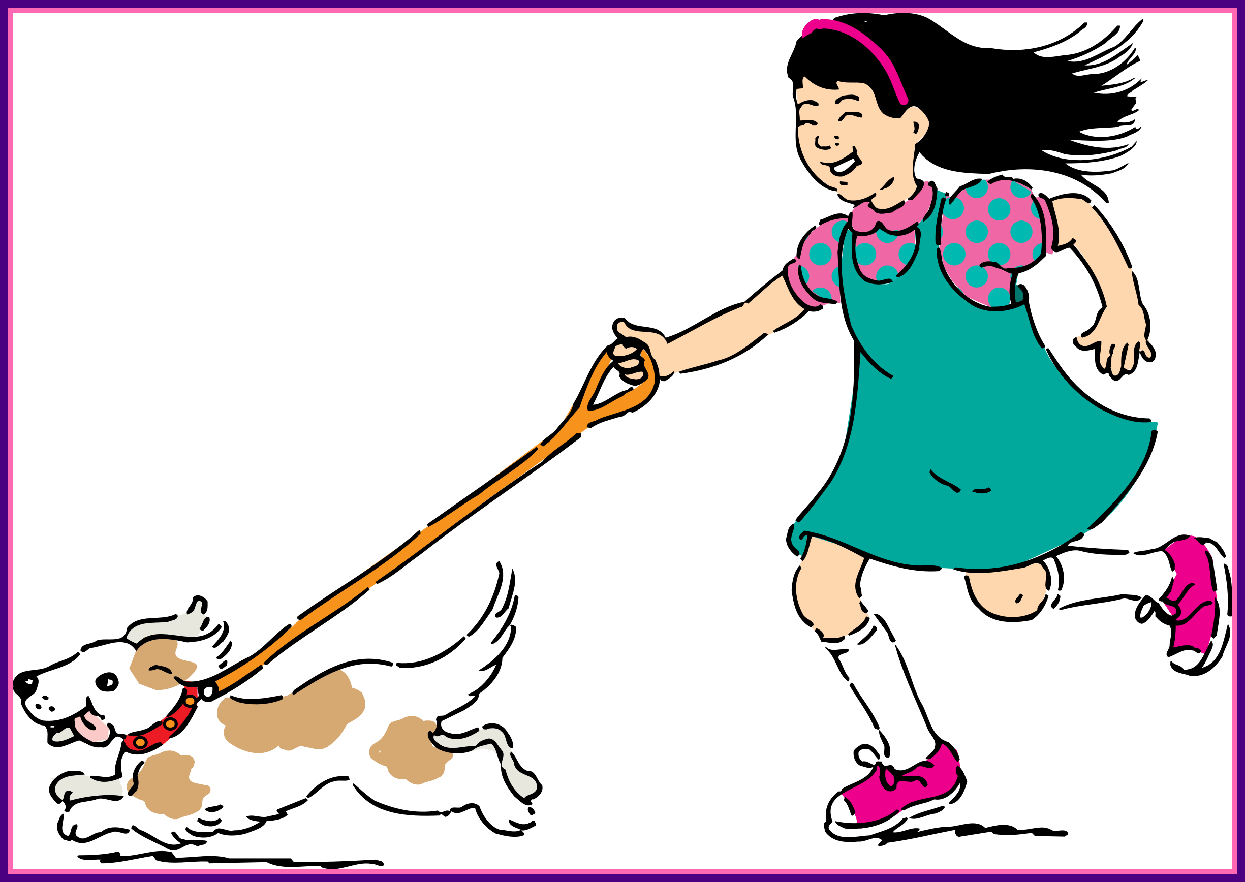 Dog cartoon clipart clipart free Girl Walking Dog Clipart - Alternative Clipart Design • clipart free