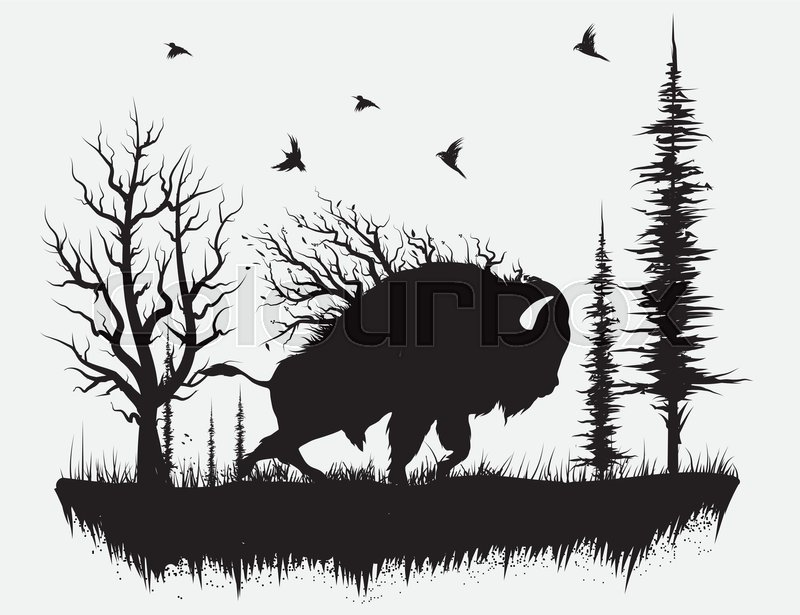 Walking through the forest black and white clipart banner library download Buffalo walking in the forest.Hand ... | Stock vector ... banner library download