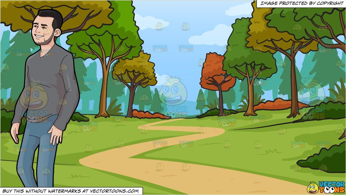 Walking through the woods clipart black and white library clipart #cartoon A Casual Guy Walking Around and Path ... black and white library