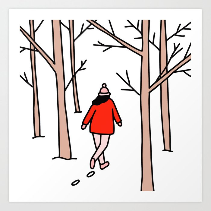Walking through the woods clipart library Girl Walking Through the Woods Art Print by asgreen library