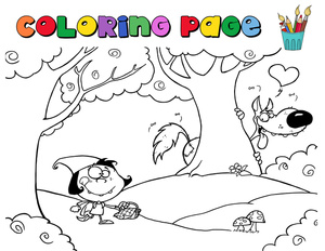 Walking through the woods clipart clipart library download Little Red Riding Hood Cartoon Clipart Image - Coloring Page ... clipart library download