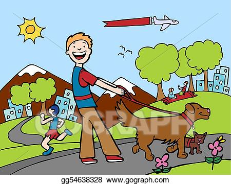 Walking to the park clipart clipart stock Vector Clipart - Dog walker park. Vector Illustration ... clipart stock
