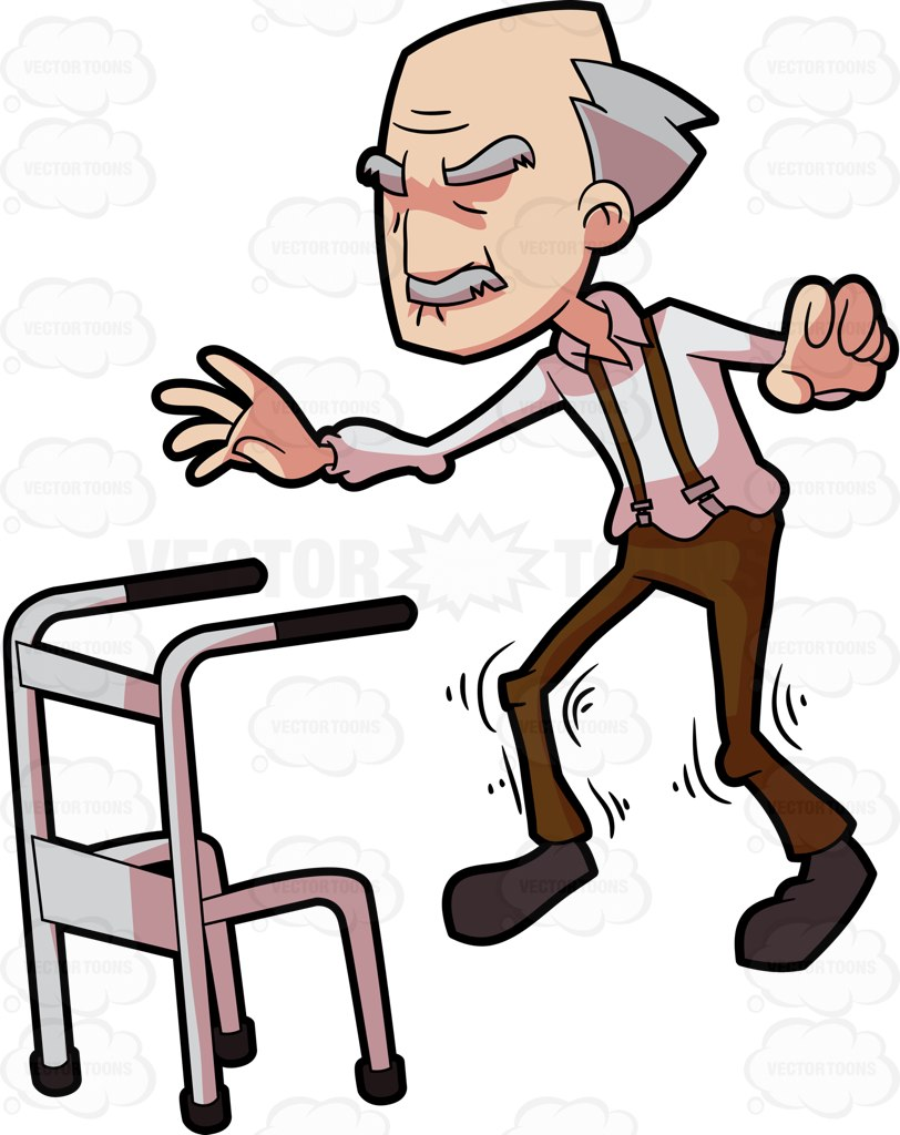 Walking with walker clipart clip art transparent library Old Man On Walker | Free download best Old Man On Walker on ... clip art transparent library