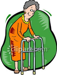 Walking with walker clipart picture library Old Woman Walking with a Walker Royalty Free Clipart Picture picture library