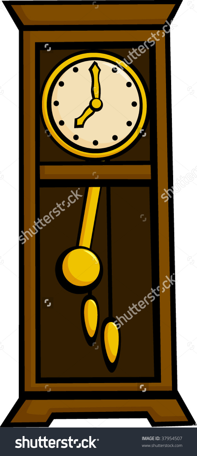 Wall clock with pendulum clipart image royalty free library Grandfather Pendulum Clock Stock Vector 37954507 - Shutterstock image royalty free library