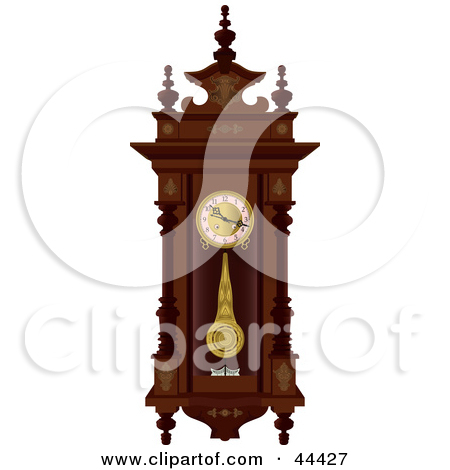 Wall clock with pendulum clipart royalty free library Clipart Illustration of a Pendulum Swinging On An Antique Wooden ... royalty free library
