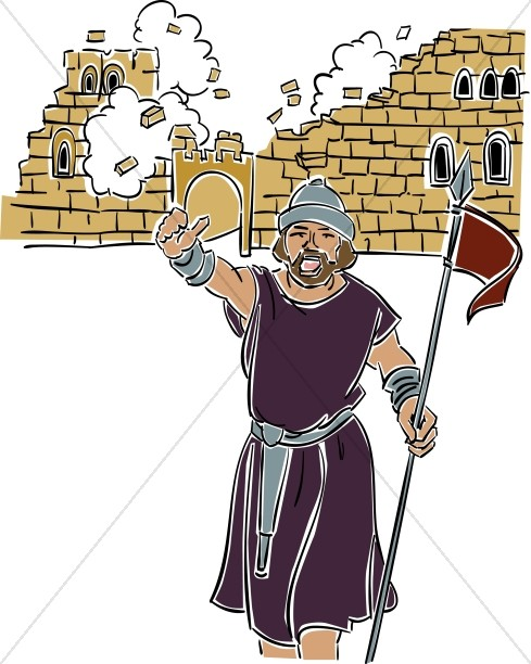 Wall of jericho clipart svg free Joshua at the Battle of Jericho | Old Testament Clipart svg free