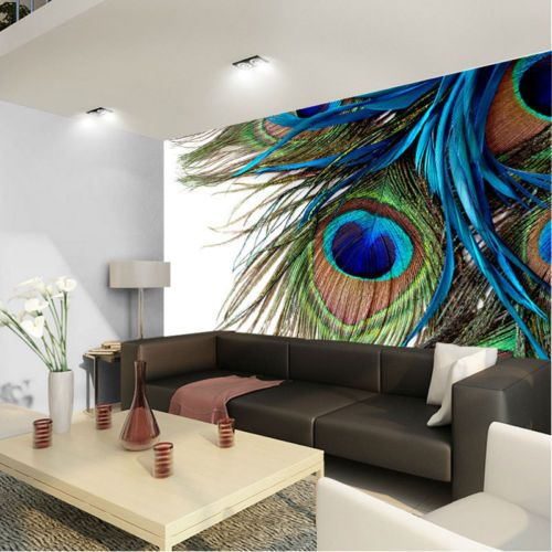 Wall wallpaper clipart picture download Peacock Feather Clipart Art 3D Full Wall Mural Photo ... picture download