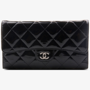 Wallet with chain clipart png library download Patent Leather Purse Wallet Black Handbag Chanel - Handbag ... png library download