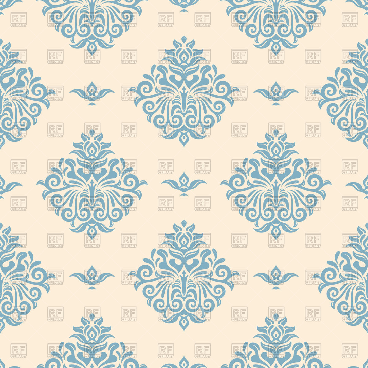 Wallpaper clipart free clip royalty free download Blue vintage wallpaper with victorian ornament Vector Image #50740 ... clip royalty free download
