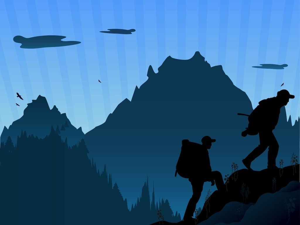 Wallpaper silhouette mountain climber summit free clipart royalty free stock Hiking Silhouette Clip Art   Mountain Hiking   Men\'s ... royalty free stock