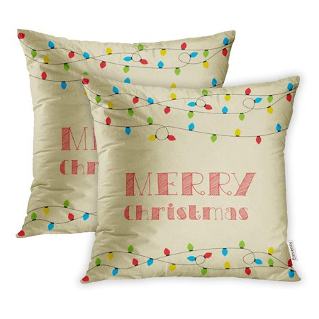 Walmart christmas clipart jpg free library YWOTA Blue Flat Christmas Clipart Festive Winter Greeting Lights and Merry  Red Pillow Cases Cushion Cover 18x18 inch jpg free library