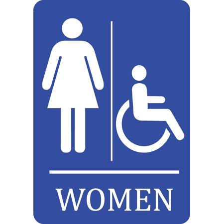 Walmart sign clipart image download Women Handicap Accessible Bathroom Blue Sign - Woman Restroom Signs -  Plastic, 12x18 image download