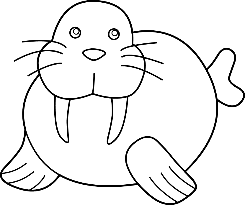 Walrus clipart outline svg black and white library Free Walrus Black And White Clipart, Download Free Clip Art ... svg black and white library
