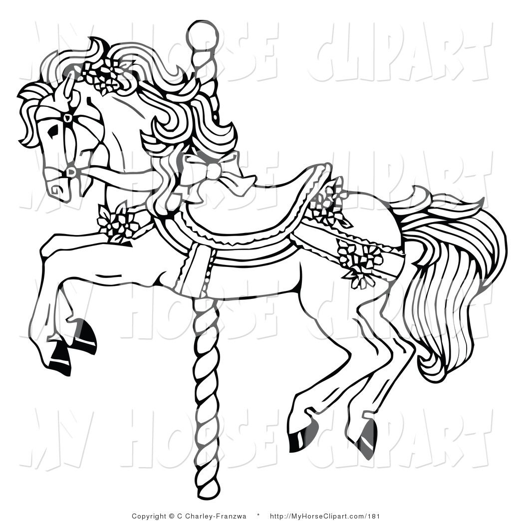 Wampanoag riding horse clipart png royalty free library Clip Art of a Black and White Carousel Horse Decorated in ... png royalty free library