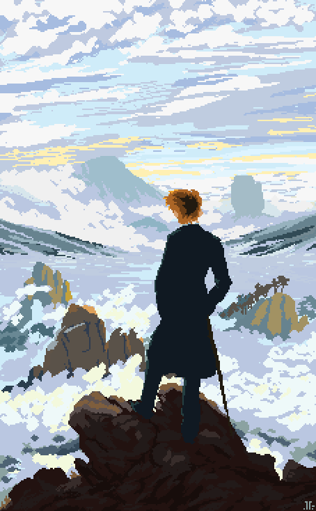 Wanderer above the sea of fog clipart image royalty free Wanderer above the Sea of Fog Pixel Art, Digital, 454 x 734 ... image royalty free