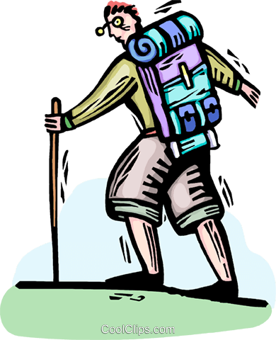 Wanderer mit rucksack clipart image library library Wanderer mit Rucksack Vektor Clipart Bild -vc064347 ... image library library