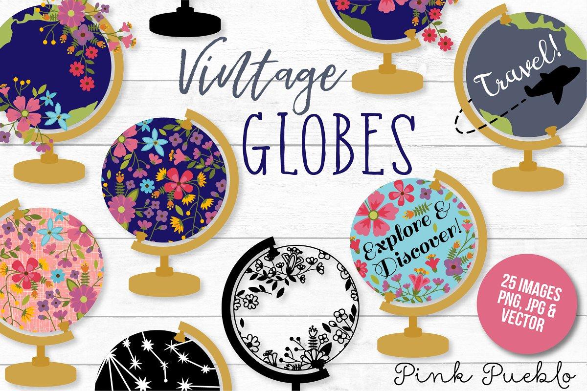 Wanderlust globe clipart free banner download Vintage Globe Clipart and Vectors banner download