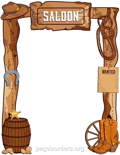Wanted cowboys for kids clipart graphic royalty free library Cowboy Border: Clip Art, Page Border, and Vector Graphics graphic royalty free library