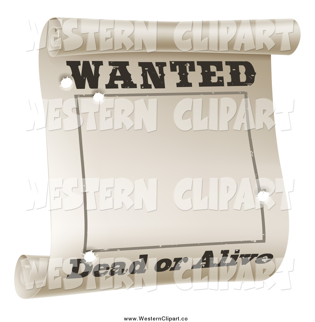 Wanted dead or alive clipart clip art black and white download Vector Clip Art of a Wanted Dead or Alive Scroll Poster with ... clip art black and white download