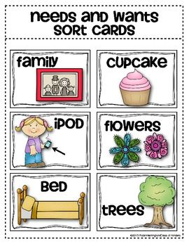 Wants needs clipart jpg black and white stock Needs and Wants Sorting Cards {Social Studies for Young ... jpg black and white stock