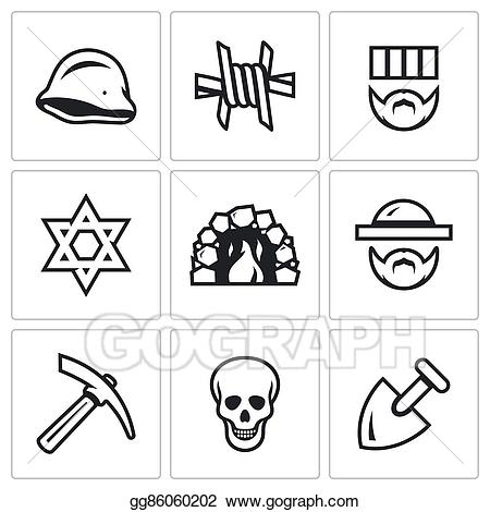War and oppression clipart clip black and white library Vector Stock - Vector set of concentration camp icons ... clip black and white library